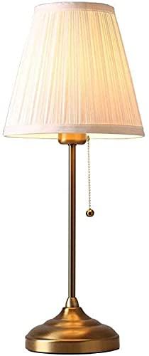 HJW Lámpara de Mesa de Noche Moderna con Luz Nocturna de Lectura con Cadena de Tracción Lámpara de Tela con Pantalla Lámpara de Mesita de Noche para Dormitorio, Lámpara de Mesa de Oficina