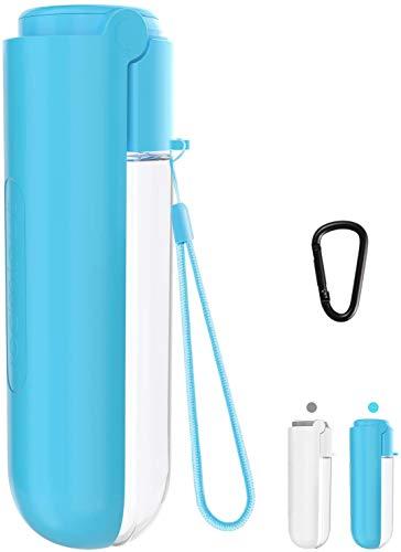 Nemobub 2020 Hunde Wasserflasche,420ml Tragbare Haustier Trinkflasche mit Filter und 1 Karabiner,BPA Frei Multifunktion Hunde Katzen Flasche,180 Grad Faltung,Wasserdicht und Auslaufsicher (Blue)