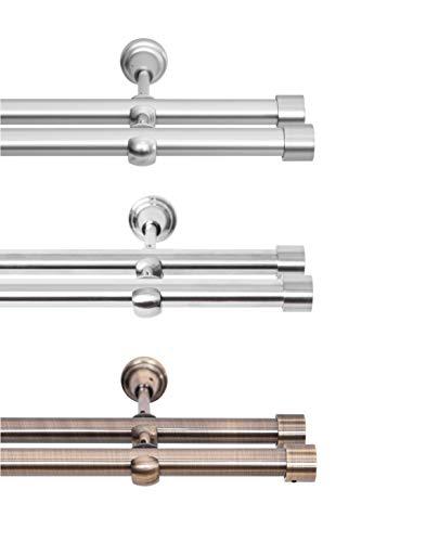 Rollmayer elegant und modern Chrom Matt Vorhangstange / Gardinenstange aus metall Ø 19mm (320cm Crux, im Silber, 2-läufig) verschiedene Größen und Endstücken Ohne Ringe!