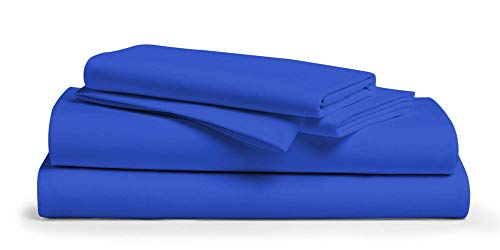 Heavy 1500 Thread Count Best 100% Cotton 4-PCs Sheet Set Fits Mattress 7-9'' Deep Pocket (Twin XL Size) Bedding Sheets for Bed (Solid, Royal Blue)