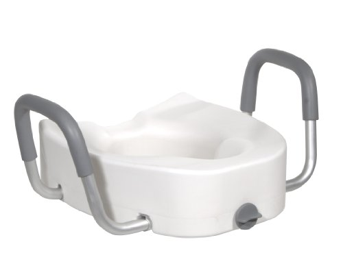 Drive Medical Premium Plastic Raised Toilet Seat with Lock and Padded Armrests, Elongated