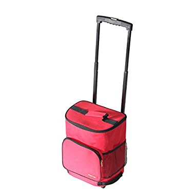 Ultra Compact Cooler Smart Cart, Red Insulated Collapsible Rolling Cooler Tailgating BBQ Beach Summer