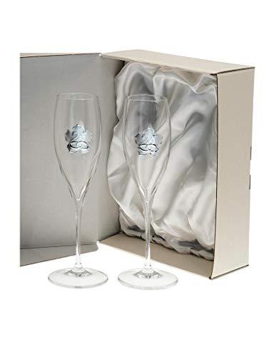 El Faro Copas champan Personalizadas Bodas o Aniversarios Cristal Trébol (Bodas Plata)