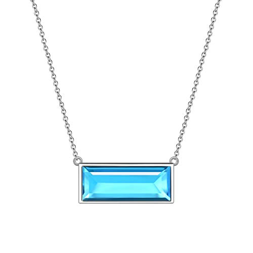 Aurora Tears March Birthstone Necklaces 925 Sterling Silver Blue Aquamarine Bar Rectangle Birth Stone Pendant Jewellery Gifts for Women and Girls DP0285M