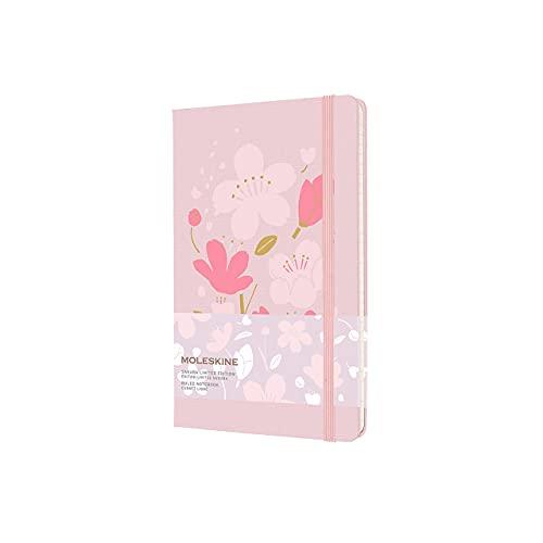 Moleskine Sakura - Cuaderno con gráficos temáticos, hojas de rayas y tapa dura de tela, tamaño grande 13 x 21 cm, color rosa, 240 páginas