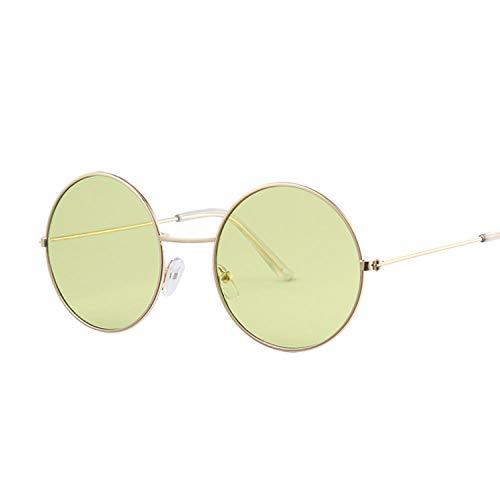 DLSM Gafas de Sol de Mujer Gafas de Sol de Marco de Metal Vintage para Mujer Sombra Oval Adecuada para Pesca, Equitación, Playa de Golf-Verde de Oro