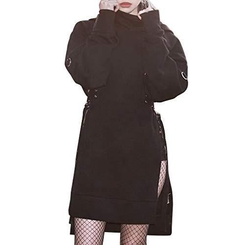 Mymyguoe Frauen Beiläufige Lose Lange Hülsen-gotische dunkle Art-Oberseiten Frauen Langarm Gothic Dark Black Langarm Sweater Top Frauen Frühling Herbst Langarm Parka Oberbekleidung