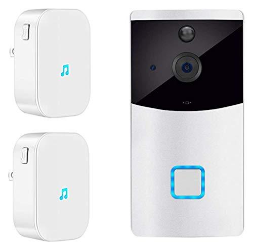 YQQQQ Timbre con Video WiFi, Cámara HD 1080P, Interfono Inalámbrico Inteligente, Conversación de Audio, Visión Nocturna por Infrarrojos, Detector de Movimiento PIR (Color : Doorbell+2 Chimes)