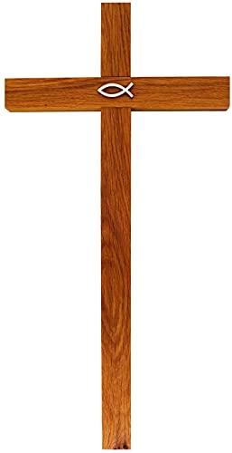 Kaltner Präsente Cadeau-idee – kruis wandkruis kruis van eikenhout 50 cm met vissymbool voor muur