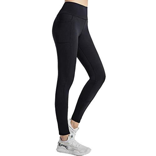 Leggings Deportivos para Hacer Ejercicio,Pantalones de la Yoga del Bolsillo de Costura de Las Mujeres, Cintura Alta elástica de Secado rápido-Negro_Metro