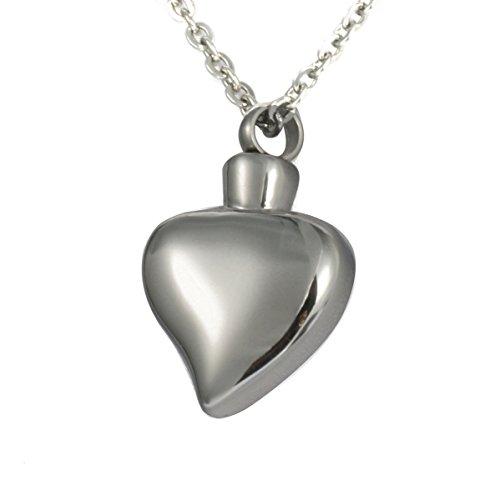 HooAMI zilveren Tone Smotth hart hanger ketting crematie Urn sieraden as Keepsake