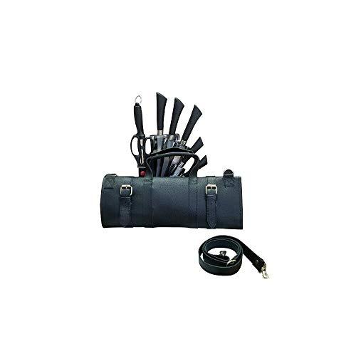Travel-Friendly Chef Knife Wrap Bag | Genuine Leather Knife Roll | Storage Bag Handles Carry Case Kitchen | travel bag knives holder | KB009