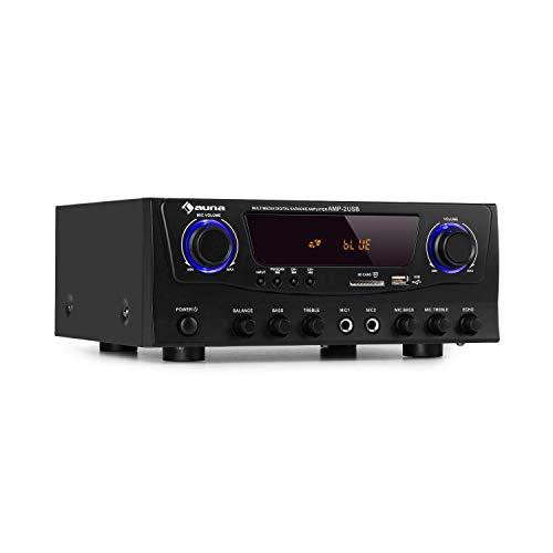 auna Amp-2 BT HiFi-Verstärker, 2 x 50 Watt RMS, Bluetooth, USB, 2 x Mikrofon-Eingang, SD/MMC-Kartenleser, FM-Radiotuner, AUX- und DVD-Eingang, Regler für Bässe, Höhen und Echo, schwarz