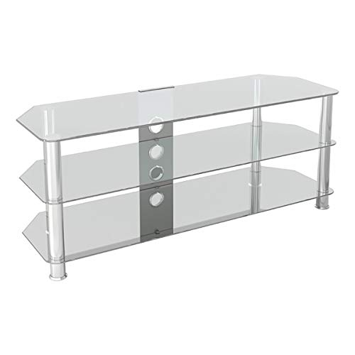 AVF SDC1250CMCC-A Classic - Corner Glass TV Stand (up to 60') with Cable Management, Clear Glass, Chrome Legs