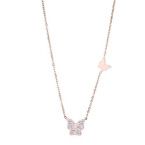 HEJIAO Mariposa Circón Collar De Acero De Titanio Joyería De Cadena De Clavícula De Oro Rosa Salvaje Femenino