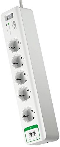 APC Surge Protector - PM5T-GR - Steckdosenleiste mit Überspannungsschutz (5-fach Stecker Schuko, schaltbar, 2 Telefon-Schutz-Ausgänge - Farbe: weiß)