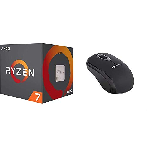 AMD Ryzen 7 3800X, Procesador con Disipador de Calor Wraith Prism (32 MB, 8 Núcleos, Velocidad de 4.5 GHz, 105 W) + Amazon Basics - Ratón inalámbrico con Receptor USB Nano, Color Negro