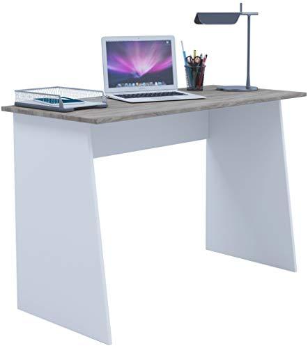VCM Schreibtisch Computertisch Arbeitstisch Büromöbel PC Laptop Tisch Möbel Weiß/Sonoma-Eiche 74x110x50 cm