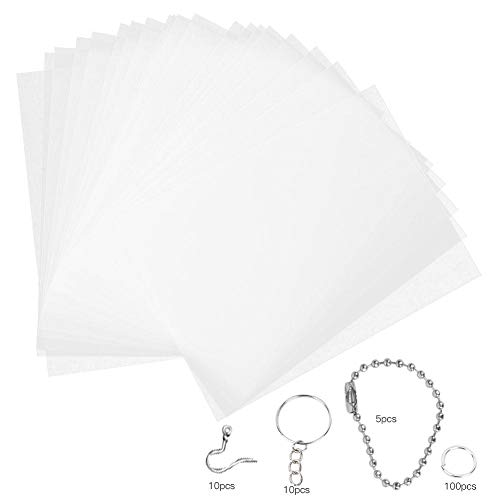 Heat Shrink Plastic Sheet Kit, 20Pcs Heat Shrinkable Films with Bead Chains Ear Hooks Opening Rings DIY Oorbellen Hangers Accessoires(20145-2#)