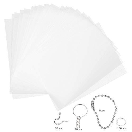 Atyhao Wärmeschrumpf Plastikfolien Kit, 20 Stück Schrumpffolien mit Perlenketten Ohrhaken Öffnungsringe DIY Ohrringe Anhänger Zubehör(20145-2#)