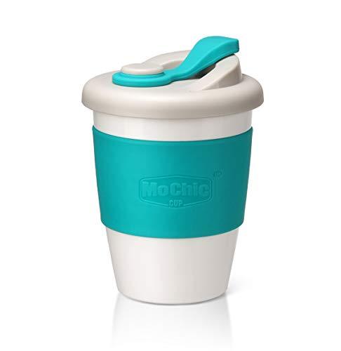 SLOSH Taza Cafe para Llevar Viaje Mug Café Desayuno Reutilizable con Tapa Sin Bpa Vasos De Café Coffee To Go Taza Yoga Coche Oficina Portatil Regalo (Verde)