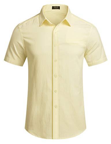 COOFANDY Herren Hemd Leinen Kurzarm mit Kragen Regualr Fit Sommer Basic Freizeit Bügelleichte Leinenhemden für Männer Hell Khaki XL