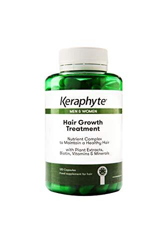 Keraphyte - Tratamiento Anticaída y Crecimiento del Cabello | con Extractos de Plantas Vitaminas y Minerales, con una alta dosis de Biotina | Vegano, sin gluten, no GMO (120 cápsulas)