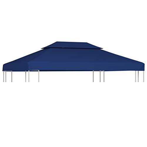 vidaXL Prieeldak 2 lagen 4x3m 310 g/m² Blauw Prieel Doek Dak Tentdoek Zeil