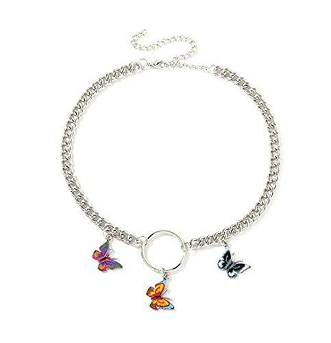 chenran Accesorios Collar Gargantilla Punky del Estilo de la Mariposa for Las Mujeres Collares gótico Oscuro Regalo Collar Collares Regalo (Metal Color : Three Butterfly)