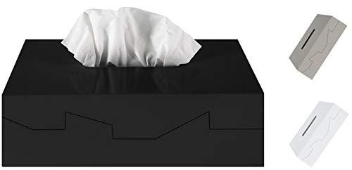 Spirella Kosmetiktücherbox - Box für Kosmetiktücher - Taschentuchbox - Kosmetikbox als Spender oder Halter - Taschentuchspender - Tücherbox ABS 24.8 x 12.8 x 8 cm Schwarz