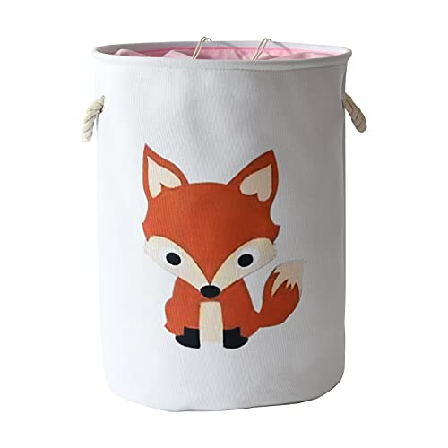 INough Baby Laundry Baskets Hampers for Kids Large Toy Box Collapsible Laundry Hamper with Handles Laundry Room Organization and Storage Woodland Nursery Decor for Laundry Playroom Bedroom (Fox)