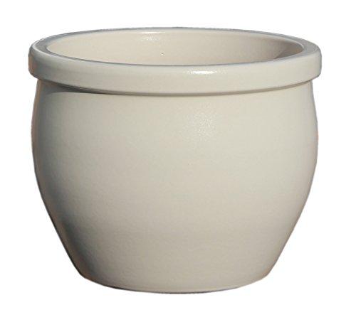 Hentschke Keramik Pflanztopf/Pflanzkübel frostsicher Ø 35 x 29 cm, Elfenbein, 076.035.49 Blumenkübel für Draußen + Innen - Made in Germany