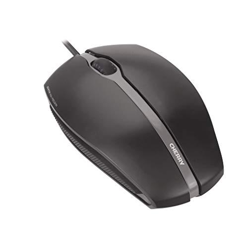 CHERRY GENTIX Corded Optical Mouse - Kabelgebunden - Gummierte Seiten - Symmetrisches Design - Schwarz