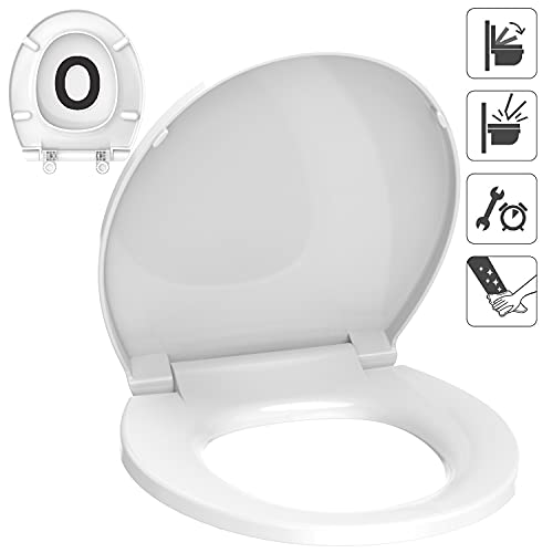 Round Toilet Seat Accenter R105 Slow Close Toilet Seat with Non-slip Seat Bumpers Easy to Install & Clean PP Material Toilet Seat White