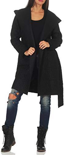 Malito Damen Wollmantel kurz | Boucle Wool | Trenchcoat mit Gürtel | weicher Dufflecoat | Parka - Jacke 9320 (schwarz)