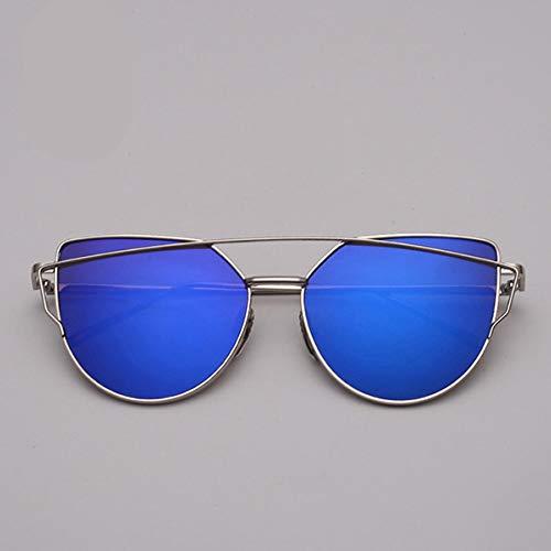 MOJINGYAN Gafas De Sol De Diseño Ojo De Gato Gafas De Sol Mujeres Metal Vintage Gafas Reflectantes para Mujeres Espejo Retro Azul De Plata