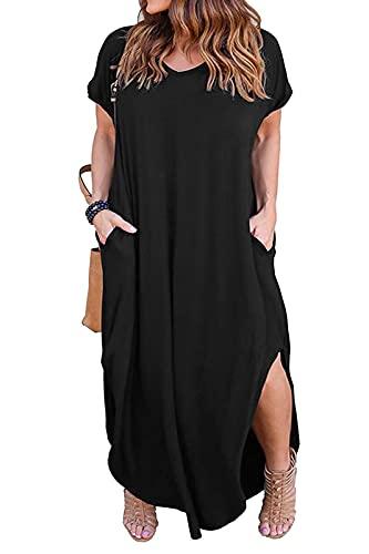 Nemidor Women's Casual Loose Pocket Long Dress Short Sleeve Plus Size Slit Maxi Dress (26W, Black) (Apparel)