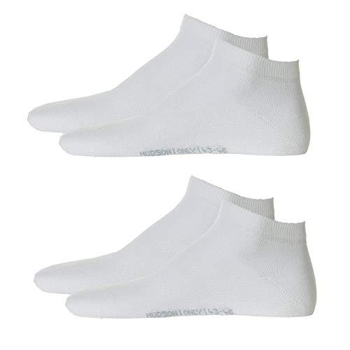 Hudson 4 Paar Herren Sneaker Socken - Only, Füssling, Invisible, uni (2x 2-Pack) (Weiss (0008), 43-46 (4 Paar))