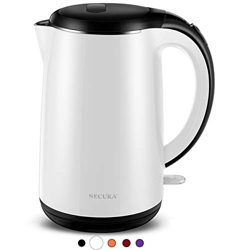 Secura SWK-1701DB The Original Stainless Steel Double Wall Electric Water Kettle 1.8 Quart, White