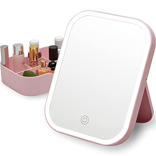 Lighted Makeup Mirror with Led Lights & Storage, SGUTEN Small Travel Makeup Case with Lighted Mirror, Touch Screen Desk Cosmetic Vanity Mirror, USB Adjustable Rechargeable Portable Mirror, Pink