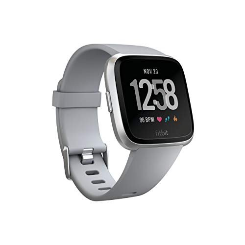 Fitbit Versa Smart Watch, Gray/Silver Aluminium, One Size (S & L Bands Included) (Renewed)