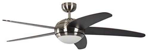 Pepeo Deckenventilator mit Beleuchtung und Fernbedienung Melton, Gehäuse Nickel, Flügelfarbe Wanaque / braun, 132 cm, für Räume bis zu 25m²