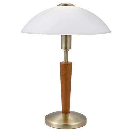 EGLO Lámpara de mesa Solo 1, 1 foco, material: acero, madera, color nogal, cristal blanco satinado, casquillo E14, incluye regulador de intensidad táctil
