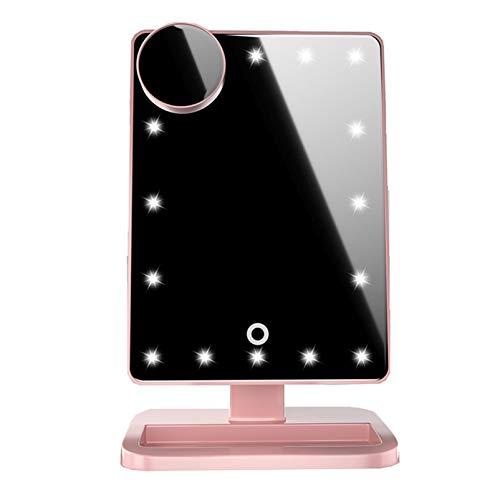 ZZBB Espejo De Maquillaje con Bluetooth 20 Luces Led Pantalla Táctil Espejo De Maquillaje Luces LED Ajustables Brillo Espejos De Mesa De Escritorio con Soporte Cosmético,Pink