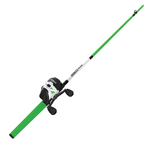 Zebco Roam Green Spincast Reel and 2-Piece Fishing Rod Combo, ComfortGrip Rod Handle, Instant Anti-Reverse Fishing Reel, Size 30, 6