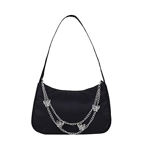 ARVALOLET Y2k Bag,Umhängetaschen, Geldbörsen unter den Armen,Handtaschen, Candy Farbe Nylon Umhängetasche Lady Schmetterling Kette Design Handtasche Achsel Tasche (Nylon Schmetterling)