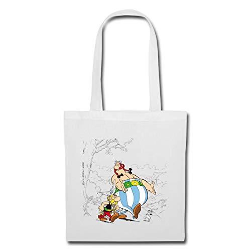 Spreadshirt Asterix & Obelix Machen Spaziergang Mit Idefix Stoffbeutel, Weiß