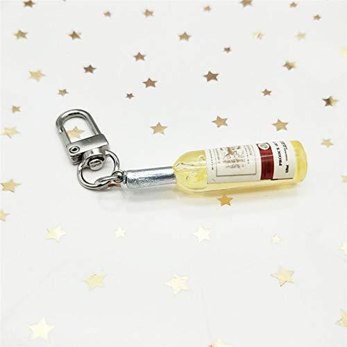 JLZK Imitación Botella de Vino Llavero Moda pequeña Cubierta de Auriculares Colgante Bolsa Accesorio Llavero Mejor Amigo Regalo