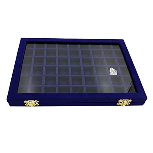 TYUHKA Joyero con cierre de terciopelo organizador de almacenamiento con cristal para pulsera, anillo de tapa, compatible con collar, reloj, pendiente caja de joyería (color: azul oscuro)