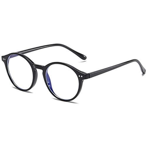 KOOSUFA Unisex Blaulichtfilter Brille Computerbrille Retro Rund Ultra Licht TR90 Brillengestelle Anti Blaulicht Brillen Ohne Sehstärke Damen Gaming Brille Anti Müdigkeit mit Etui (Helles Schwarz)